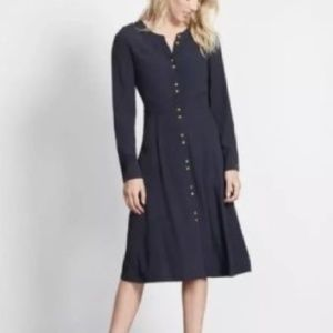 Boden Navy Blue with Gold Button Dress